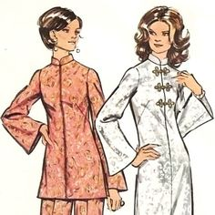Etsy mysweetiepiepie VINTAGE 1970 s Sewing Pattern Asian Style Mandarin Collar Maxi Dress Tunic Pant BUST 32 1 2 Size 10 Small LOOK SLIMMER - Stylehive