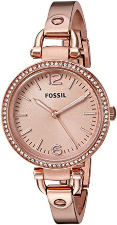 Fossil Womens ES3226 Georgia Glitz Three Hand Stainless Steel Watch  Rose GoldTone *** More info could be found at the image url.