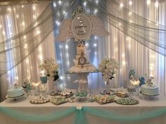 Sweets table and Party decor Heaven sent baby shower party by : decorating ideas for baptism party - www.pureclipart.com