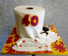 funny toilet paper 40th birthday cake