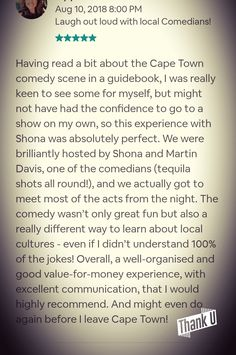 Cape Town Comedy Experience Review
