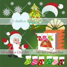 Christmas clipart Fireplace Stockings ClipArt Images by beillija, $4.50
