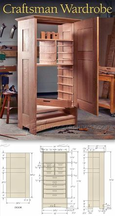 Craftsmans Wardrobe Plans Furniture Plans and Projects WoodArchivistcom Arts And Crafts Furniture, Furniture Projects, Furniture Making, Diy Furniture, Wood Projects, Woodworking Furniture Plans, Woodworking Projects That Sell, Diy Woodworking, Mission Style Furniture