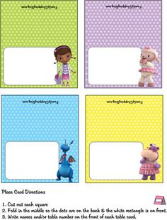 Place Cards, Doc McStuffins, Place Cards - Free Printable Ideas from Family Shoppingbag.com