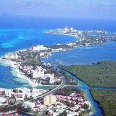Cancun from the air showing hotel zone