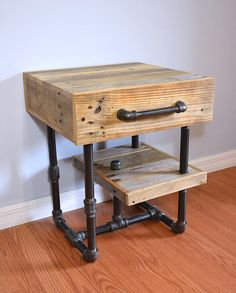 FREE SHIPPING Pallet and Pipes Nightstand door SibusFurnitureDecor