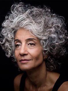Salt and pepper gray hair. N… – White Hair Grey Curly Hair, Silver Grey Hair, Short Curly Hair, Curly Hair Styles, Natural Hair Styles, Grey Hair Don't Care, Grey Hair Inspiration, Pelo Natural, Ageless Beauty