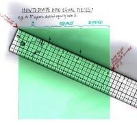"""Now, HOW TO DIVIDE INTO EQUAL PIECES WITHOUT A CALCULATOR For example this green paper is 5 1/2"""" square & you want to divide it into 3 equal strips. Hold the beginning of the ruler (0"""") against the top left corner of the paper. Find a number larger than the length of the paper that is divisible by 3; that's 6. #1. Slide the right side of the ruler down until the 6"""" mark is flush with the paper edge. 6 % 3 is 2, so make a dot on the paper every 2""""; at the 2"""" & the 4"""" spot. #2. Slide the…"""