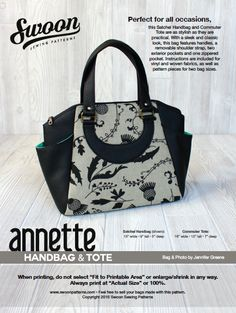 This Satchel Handbag and Commuter Tote sewing pattern is as stylish as it is practical.