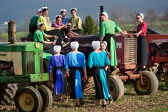 Amish girls and tractor