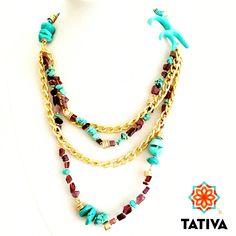 Collar turquesas y amatistas  #Tativa #costaricahandmade