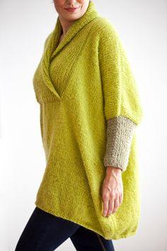 Plus Size Hand Knitted Sweater Poncho Tunic Dress by by afra