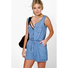 Boohoo Blue Jenni Utility Style Denim Playsuit ($40) ❤ liked on Polyvore featuring jumpsuits, rompers, blue, blue rompers, blue jersey, blue romper, playsuit romper and denim rompers