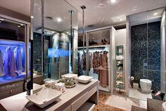 Construindo Minha Casa Clean: 10 Closets com Banheiros Integrados - Sonho de Toda Mulher! Bathrooms - Baños, banho, banheiro.
