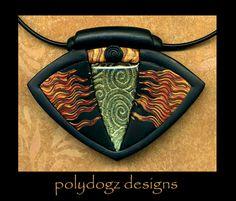 polymer clay necklace by polydogz on Etsy