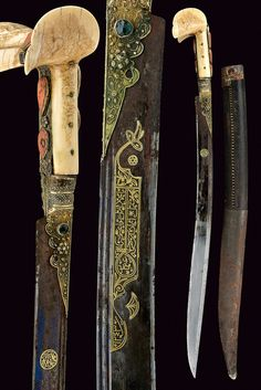 Yatagan Sword  Dated: 19th century Culture: Ottoman Measurements: overall length 75 cm The sword features the typical, slightly curved, single-edged blade, this particular one having a double rear groove, blued at the first part, with a round, gold cartouche featuring inscriptions in Arabic on a side, and decorations with inscriptions, in gold, on the other.