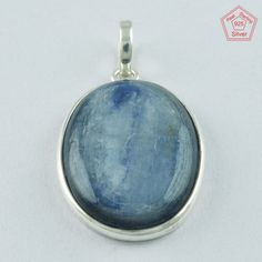 Attractive Oval Kynite Stone 925 Sterling Silver Pendant P4754 #SilvexImagesIndiaPvtLtd #Pendant