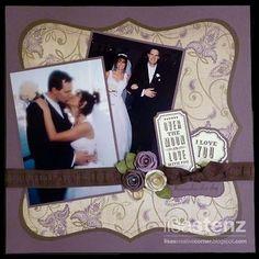 "I am soooo scraplifting this for our wedding album! Stunning ""Wedding Layout""...posted by Lisa Stenz. #weddingscrapbooks"