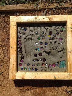 Concrete hand/footprint