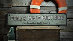 Come & Take A Boat Ride Wood Sign, Custom Beautiful Lake Name Sign, Distressed Lake Decor - Rustic Hand Made Vintage Wooden Sign ENS1001312 by TheLiztonSignShop on Etsy https://www.etsy.com/listing/280924726/come-take-a-boat-ride-wood-sign-custom