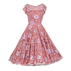 Preowned 1950's Werle Baby-pink Appliqued French Chantilly-lace Full... (1,015 CAD) ❤ liked on Polyvore featuring dresses, pink, multiple, vintage lace dress, pink cocktail dress, red summer dress, floral skater skirt and summer cocktail dresses