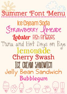 12 deliciously free summer fonts and dingbats. Cute Fonts, Fancy Fonts, Pretty Fonts, Summer Font, Computer Font, Joelle, Cricut Fonts, Different Fonts, Typography Fonts