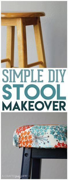 Bar stool makeover - All you need is a little paint, foam, fabric, and some TLC. See how here!