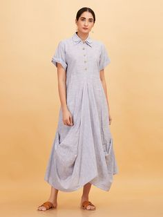 479efc63650 Blue Striped Khadi Cowl Dress