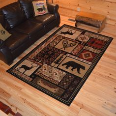 Rustic Lodge Bear Moose Deer Cabin Multi Black Area Rug (5'3 x 7'3) (5x8), Size 5'3 x 7'7 (Polypropylene, Nature)