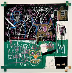 """Jean-Michel Basquiat, """"LNAPRK"""", 1982. Synthetic polymer and oil stick on canvas, 73 1/2 × 72 1/4 in. (186.7 × 183.5 cm). Whitney Museum of American Art"""