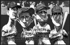 Red Sox Teammates Ted Williams Poster Caricature Limited Edition Art Print Boston Baseball, Baseball Art, Bobby Doerr, Fine Art Prints, Canvas Prints, Boston Red, A Comics, Caricatures, State Art
