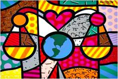 Scales of Justice art print by Romero Britto