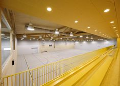 Bright yellow spectator stands line the edge of this timber-framed sports hall in the Netherlands.