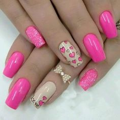 Beautiful nails 2016 Bright pink nail polish Bright pink nails Bright summer nails Dating nails Heart nail designs Love nails Manicure on the day of lovers Trendy Nail Art, Cute Nail Art, Easy Nail Art, Cute Nails, Pretty Nails, Nail Art Design 2017, Nail Design Spring, Pretty Nail Designs, Best Nail Art Designs
