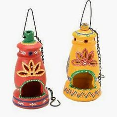 Twin colourful Terracotta hanging lanterns candle holder - Online Shopping for Diyas and Lights by Apno Rajasthan Kalash Decoration, Diya Decoration Ideas, Diwali Decorations At Home, Decor Ideas, Hanging Candle Lanterns, Lantern Candle Holders, Candle Stands, Hanging Lamps, Diwali Craft