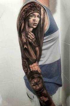 Arm Tattoo, Sleeve Tattoos, Tattoo Art, Tattoo Arm Designs, Dreadlocks, Portrait, Hair Styles, Tattos, Beauty
