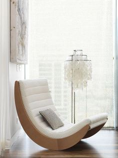 """""""When I sit back in my rocking chair someday, I want to be able to say I've done it all"""" - DOLLY PARTON - (Modern white rocking chair. Photo by Chris Court) Funky Furniture, Classic Furniture, Unique Furniture, Furniture Design, Furniture Outlet, Furniture Stores, Luxury Furniture, Modular Furniture, Furniture Movers"""