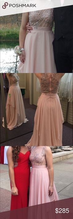 Blush Prom Dress Blush prom dress size 6. Price Negotiable it does have a tear in the bottom on the lining underneath and is a little dirty and will need cleaned. I'm 5'3 and wore 4 inch heels with it. Dresses Prom