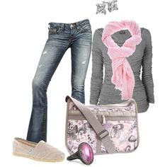 """Grey and Pink"" by nursejanna on Polyvore"