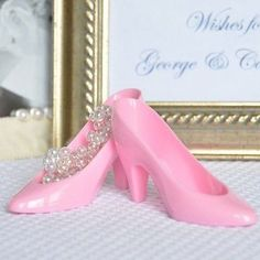 4 Pink Cinderella Glass Slippers Cake Topper Wedding Decoration Princess Party