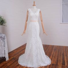 >> Click to Buy << Elegant Fit and Flare Ivory Simple Lace Wedding Dresses Open Back V neck Sheath Bridal Party Gown Blush Sash Sweep Train #Affiliate