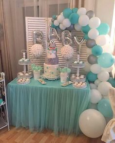 LAttLiv Balloons 56 Pcs Baby Shower Boy Balloons Latex & Foil/Mylar Letters Balloons Baby Boys Birthday Balloons Party Decoration for Baby Shower Birthday Baptism Christening- Silver & Ivory & Turquoise - Peyton's baby shower ideas - Baby Shower Deco Baby Shower, Cute Baby Shower Ideas, Baby Shower Decorations For Boys, Baby Shower Centerpieces, Baby Shower Parties, Baby Shower Themes, Baptism Decorations, Boy Baby Showers, Baby Boy Christening Decorations