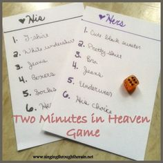 Two Minutes in Heaven - Looking for a game to play with your spouse that adds just the right amount of spice? This one might be just the one for you!