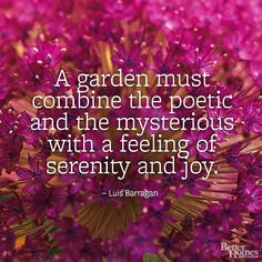 """""""A garden must combine the poetic and the mysterious with a feeling of serenity and joy."""" -Luis Barragan"""