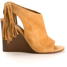 Chloé Angora Beige Suede Wedge Sandals ($745) ❤ liked on Polyvore featuring shoes, sandals, open toe wedge shoes, beige wedge sandals, slip on sandals, wedge heel sandals and beige wedge shoes