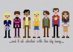 Pixel People - The Big Bang Theory - PDF Cross Stitch PATTERN. $7.00, via Etsy.
