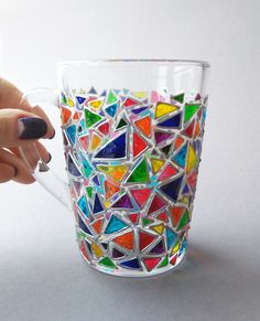 Mosaic Coffee mug glass mug Sun catcher mugs Triangle mug Hand painted coffee mugs This is a bright and cute hand painted glass coffee mug with bright multi colored funny triangles in mosaic order. You can personalize it with yours and your friends or loved one initials or names. If you