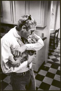 Steve McQueen & his kitty friend