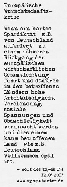 Europäische Wurschtschaftskrise - www.sympatexter.de