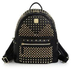 MCM Stark Special Small Backpack ($2,435) ❤ liked on Polyvore featuring bags, backpacks, mcm, sac, apparel & accessories, black, studded backpack, strap backpack, pocket backpack and studded leather backpack